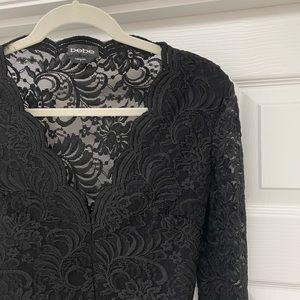 Bebe Long Sleeve V-Neck Lace Bodysuit